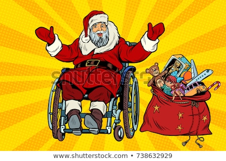 wheel chair with hat Santa Claus Stock photo © ivonnewierink