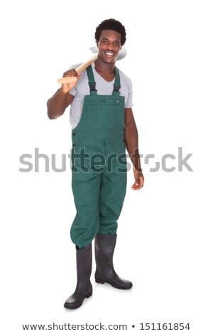 mężczyzna · ogrodnik · łopata · szczęśliwy · biały - zdjęcia stock © AndreyPopov