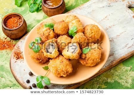 frito · cogumelos · madeira · restaurante · jantar · café · da · manhã - foto stock © yelenayemchuk