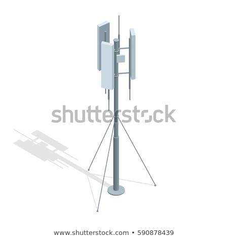 Mobiele telefoon communicatie antenne toren blauwe hemel televisie Stockfoto © FrameAngel