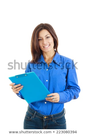 töprengő · főiskolás · lány · nő · tankönyv · jegyzet · olvas - stock fotó © feelphotoart