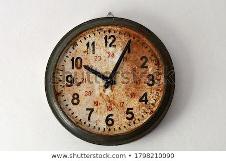 vintage · parede · relógio · isolado · branco · cara - foto stock © witthaya
