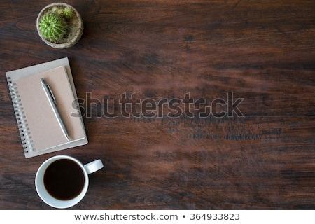 Notebook pen houten tafel voorraad foto kantoor Stockfoto © punsayaporn