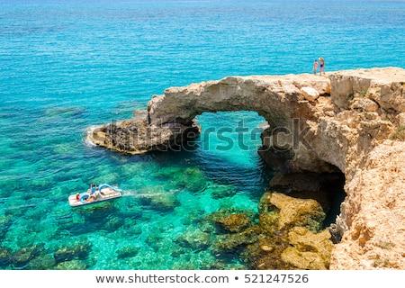 Nyári vakáció Ciprus tengerpart személy tart kártya Stock fotó © stevanovicigor
