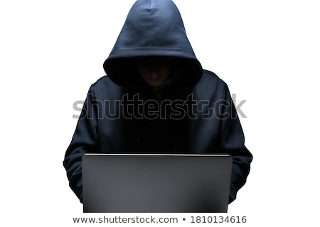 Stock photo: Criminal hacker with laptop on white