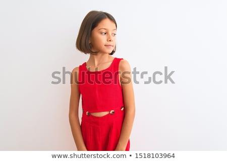 美人 · 赤いドレス · 海岸 · ヨット · 女性 · 水 - ストックフォト © victoria_andreas