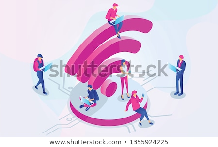 Wifi szimbólum emberek illusztráció izolált internet Stock fotó © get4net