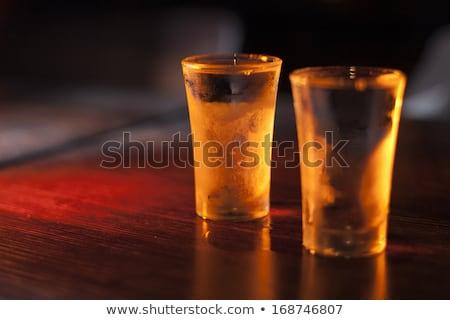 Kettő szemüveg vodka asztal áll üveg Stock fotó © Mikko