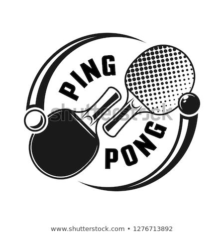 пинг-понг теннисный мяч монохромный икона Теннисная ракетка мяча Сток-фото © robuart