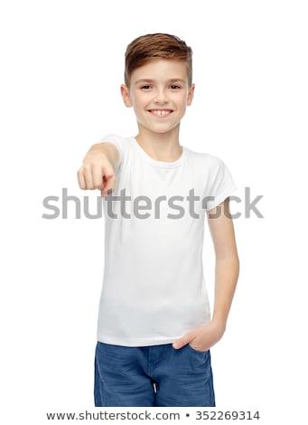Biały tshirt wskazując palec dzieciństwo Zdjęcia stock © dolgachov