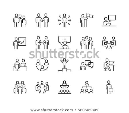 Foto stock: Icono · reunión · empresarios · trabajo · diseno · apretón · de · manos