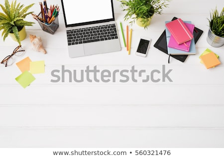 Be positive and office tools on wooden table Stock photo © fuzzbones0