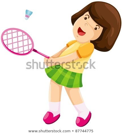 A sketch of a young girl playing badminton Stock photo © bluering