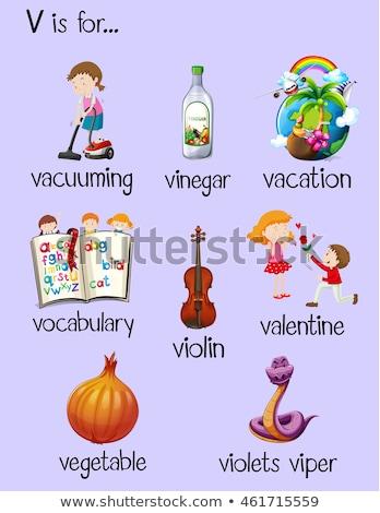 Flashcard letter V is for violets viper Stock photo © bluering