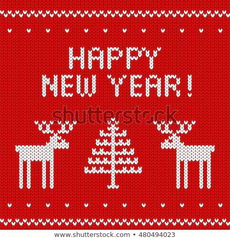Yılbaşı örgü doku ağaç kış kumaş Stok fotoğraf © carodi