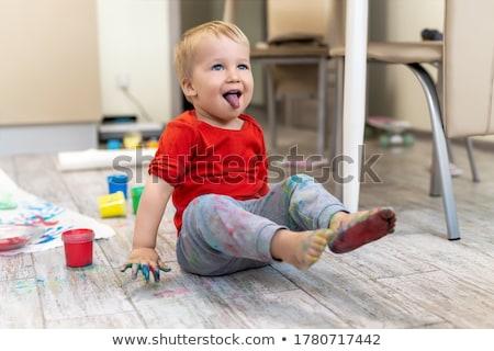 непослушный мальчика из языком портрет Сток-фото © karin59