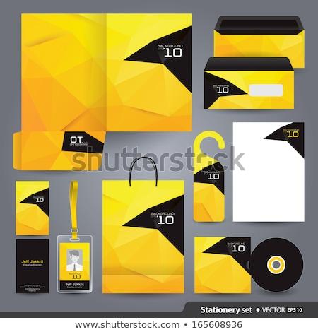 Kreative Briefkopf Vorlage gelb schwarz geometrischen Stock foto © SArts