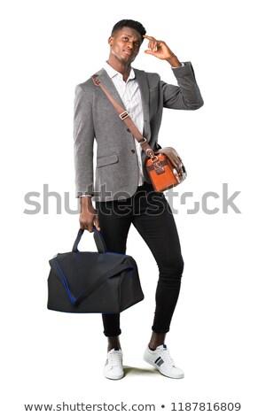 Jonge reiziger hoofd nadenkend onzeker Stockfoto © RAStudio