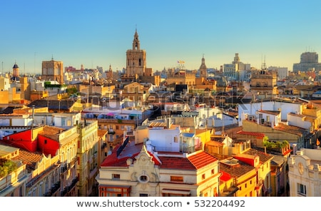 view of street in valencia on sunset stock photo © artjazz