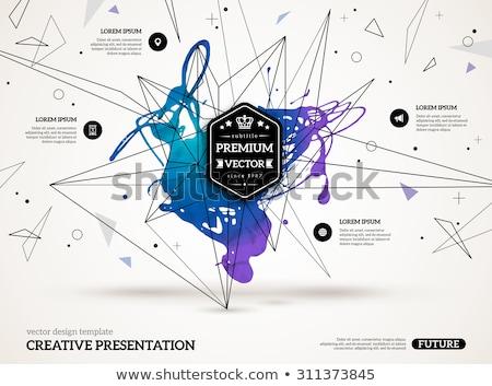Kék vízfesték folt drótváz háló textúra Stock fotó © SArts