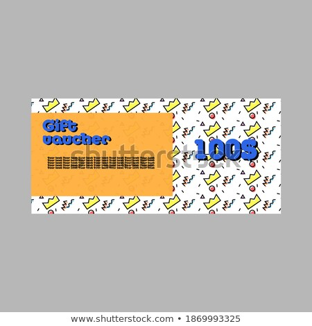 memphis style sale voucher banner with deal details Stock photo © SArts