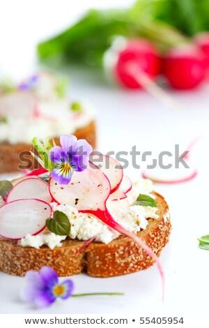 Kert retek szendvicsek fa asztal stílus rusztikus Stock fotó © user_10493298