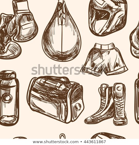 Fighters academy of boxing. Hand drawn boxing gloves isolated o stock photo © masay256