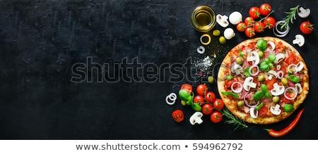 włoski · pizza · pomidorów · kiełbasa · grzyby · internetowych - zdjęcia stock © mamziolzi