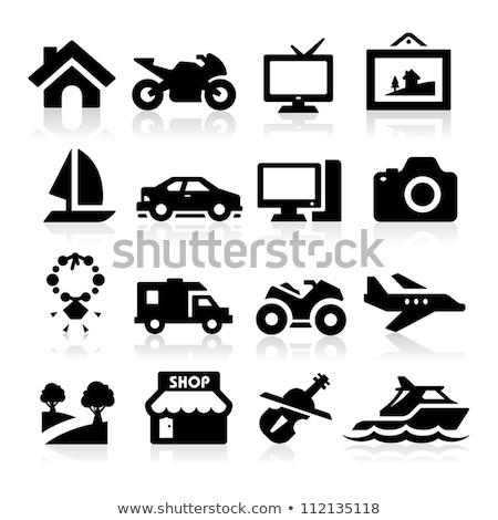Jacht ikon szürke piktogram szimbólum bent Stock fotó © ahasoft