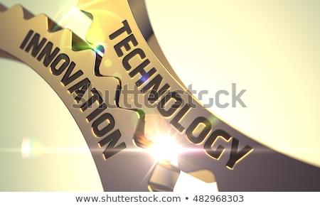 Golden Metallic Gears with Industrial Internet Concept. 3D. Stock photo © tashatuvango