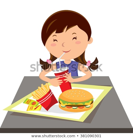 Foto d'archivio: Little Girl Drinking Soda And Eating Cheeseburger