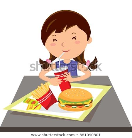 Bambina bere soda mangiare cheeseburger piccolo Foto d'archivio © RAStudio
