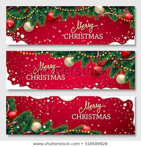 Stock fotó: Vidám · karácsony · bannerek · szett · mikulás · nyújtott