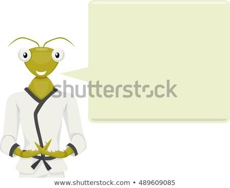 Rezando bocadillo mascota ilustración karate Foto stock © lenm