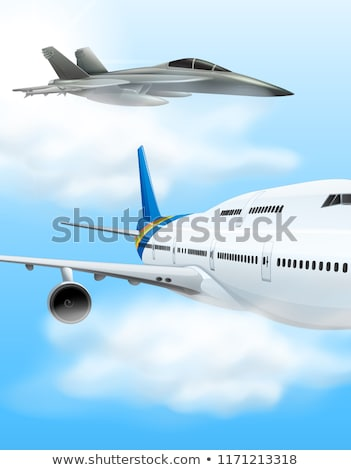 Commerical aircraft and fighter jet Stock photo © bluering