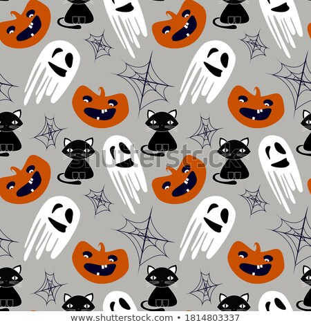halloween seamless pattern with cartoon monsters on gray stock photo © voysla