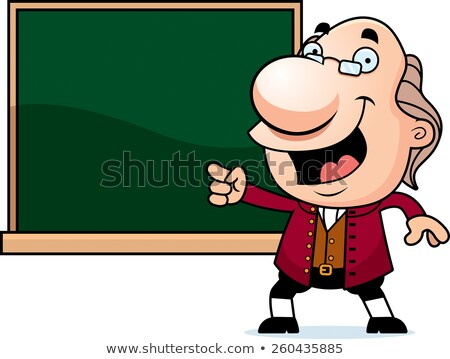 Cartoon Ben Franklin Chalkboard Stock photo © cthoman