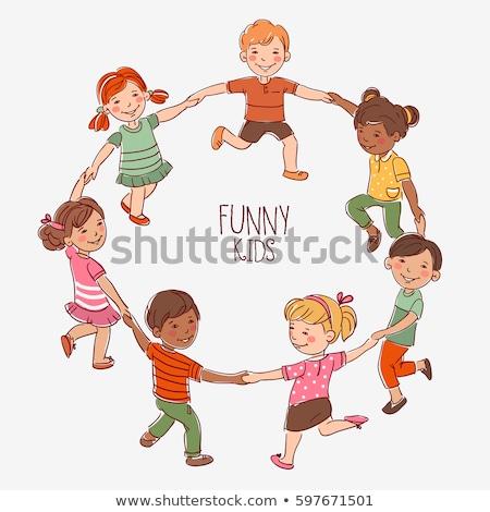 kinderen · holding · handen · silhouetten · meisje · menigte · vrienden - stockfoto © pikepicture