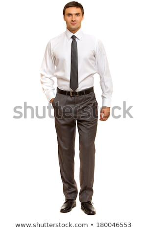 Adult businessman 30s with stubble in white shirt looking on cam Stock photo © deandrobot