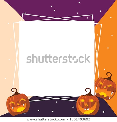 Poster on theme of Halloween holiday party or greeting card with silhouette of a witch flying on a b Stock photo © Lady-Luck
