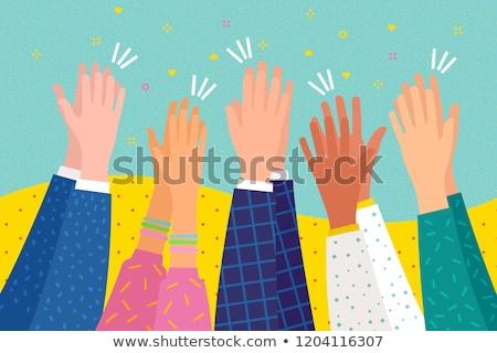 Kezek tapsol zene boldog tömeg háttér Stock fotó © makyzz