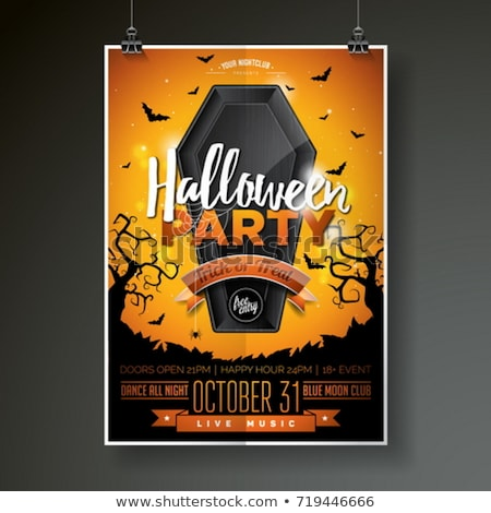 Halloween Party flyer vector illustration with black coffin and flying bats on mysterious blue backg Stock photo © articular
