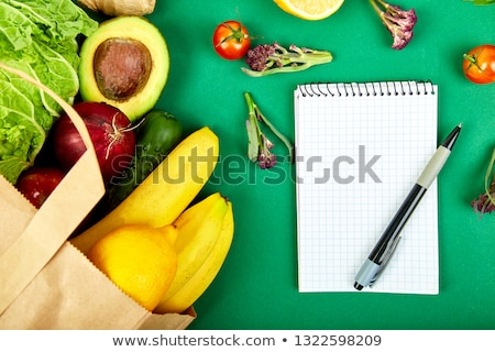 Stock photo: Shopping List Recipe Book Diet Plan Grocering Concept