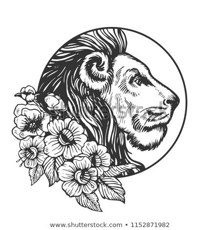 Cartoon лев цветы иллюстрация улыбаясь графических Сток-фото © cthoman
