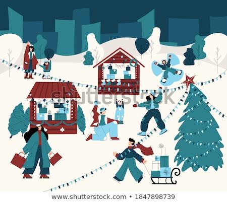 群衆 ベクトル 冬 実例 孤立した 雪 ストックフォト © pikepicture