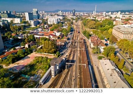 zagreb rail tracks and western part aerial view stock photo © xbrchx