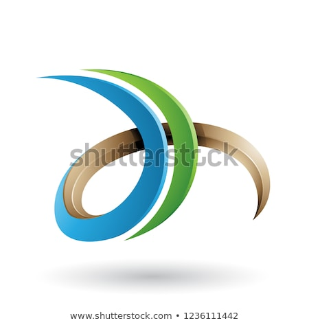 Beige and Green 3d Curly Letter D and H Vector Illustration Stock photo © cidepix
