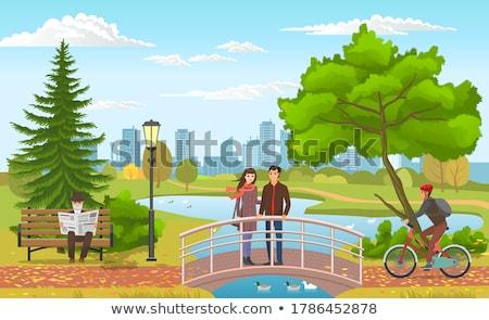 amor · aves · ciudad · vector · ilustración · par - foto stock © robuart