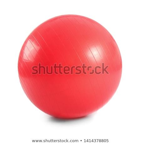 Vermelho pilates bola isolado branco esportes Foto stock © boggy