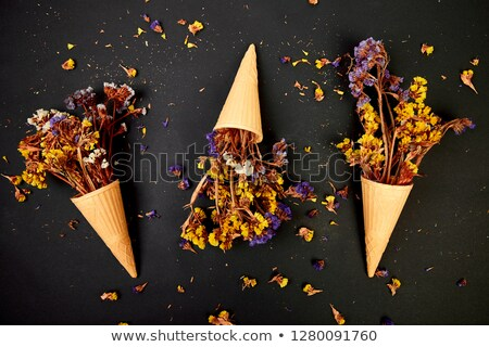 Stock photo: Bouquet Flowers in a waffle cone on a black background.
